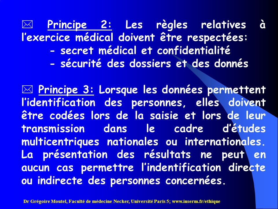 - secret médical et confidentialité