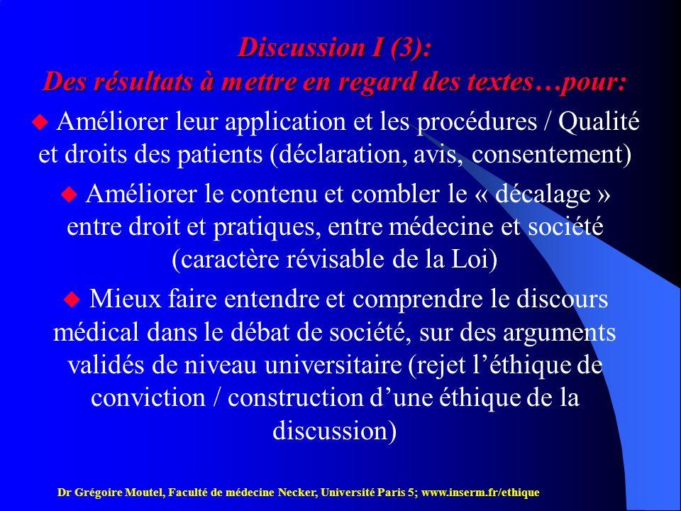 Discussion I (3): Des résultats à mettre en regard des textes…pour: