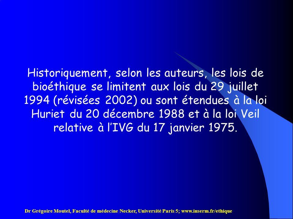 Historiquement, selon les auteurs, les lois de bioéthique se limitent aux lois du 29 juillet 1994 (révisées 2002) ou sont étendues à la loi Huriet du 20 décembre 1988 et à la loi Veil relative à l'IVG du 17 janvier 1975.