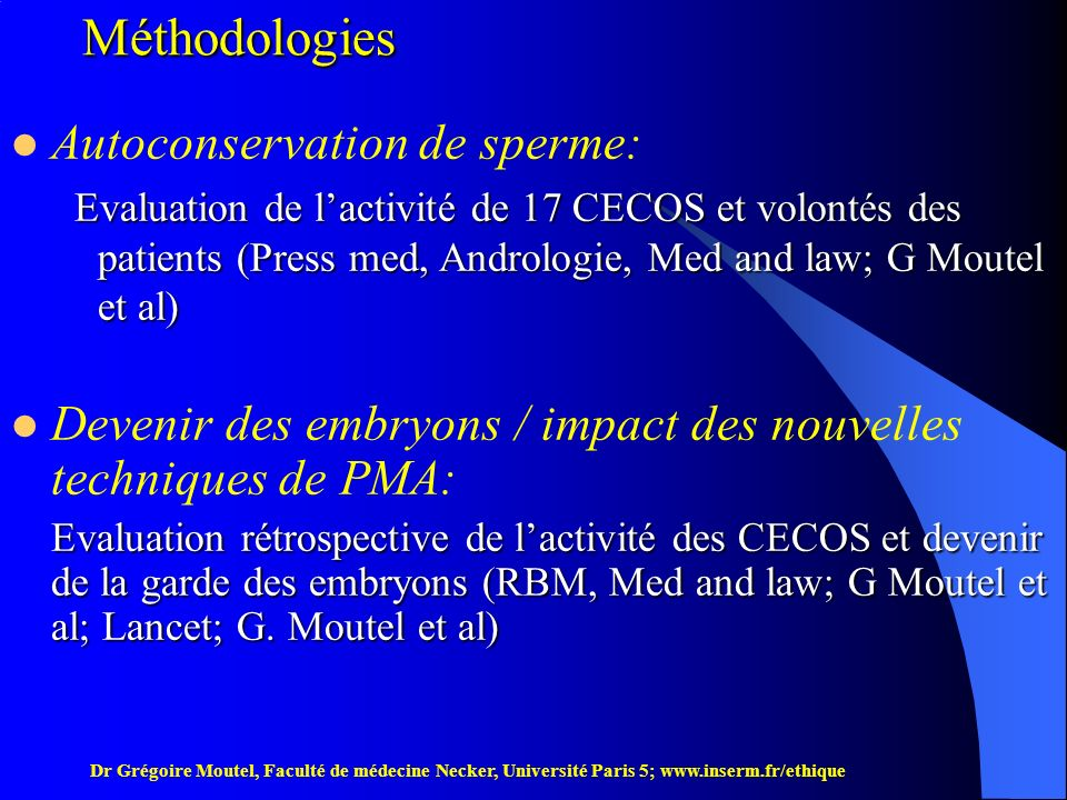 Méthodologies Autoconservation de sperme: