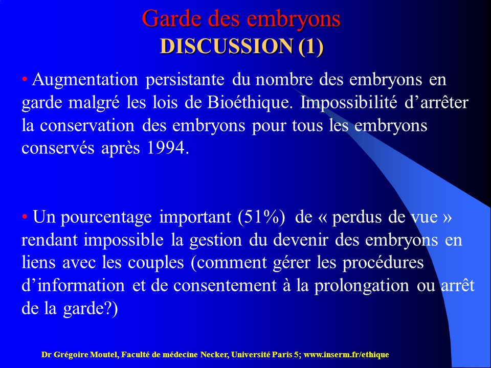 Garde des embryons DISCUSSION (1)