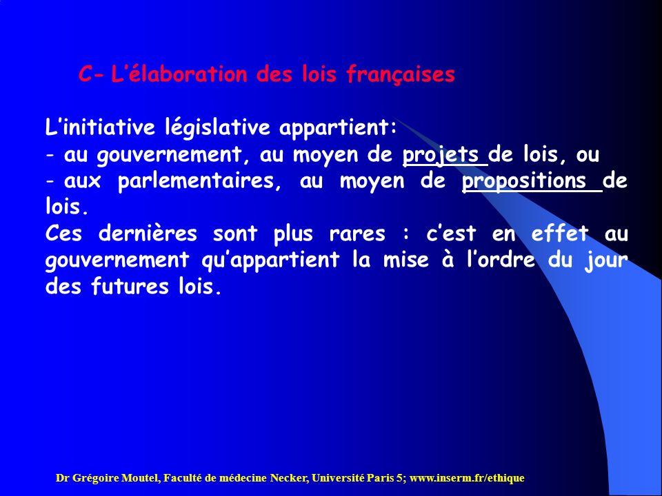 C- L'élaboration des lois françaises