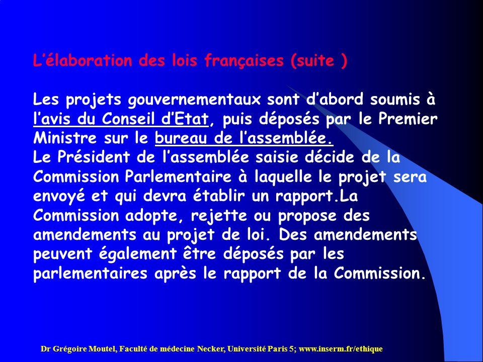 L'élaboration des lois françaises (suite )