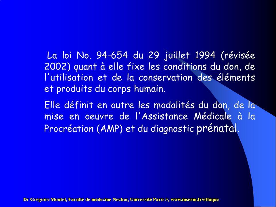 La loi No. 94-654 du 29 juillet 1994 (révisée 2002) quant à elle fixe les conditions du don, de l utilisation et de la conservation des éléments et produits du corps humain.