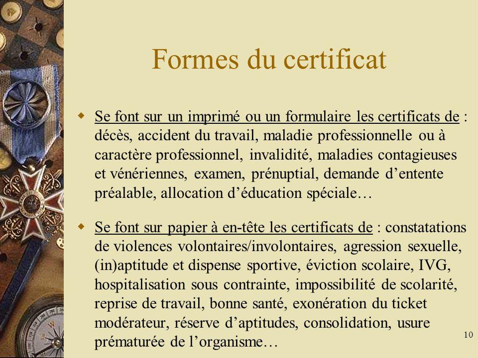 Formes du certificat
