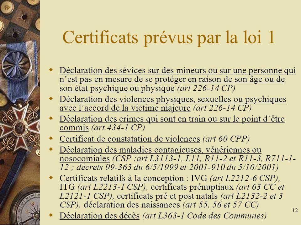 Certificats prévus par la loi 1