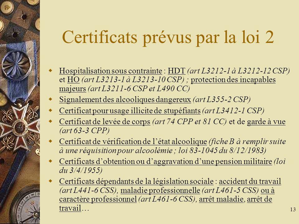 Certificats prévus par la loi 2