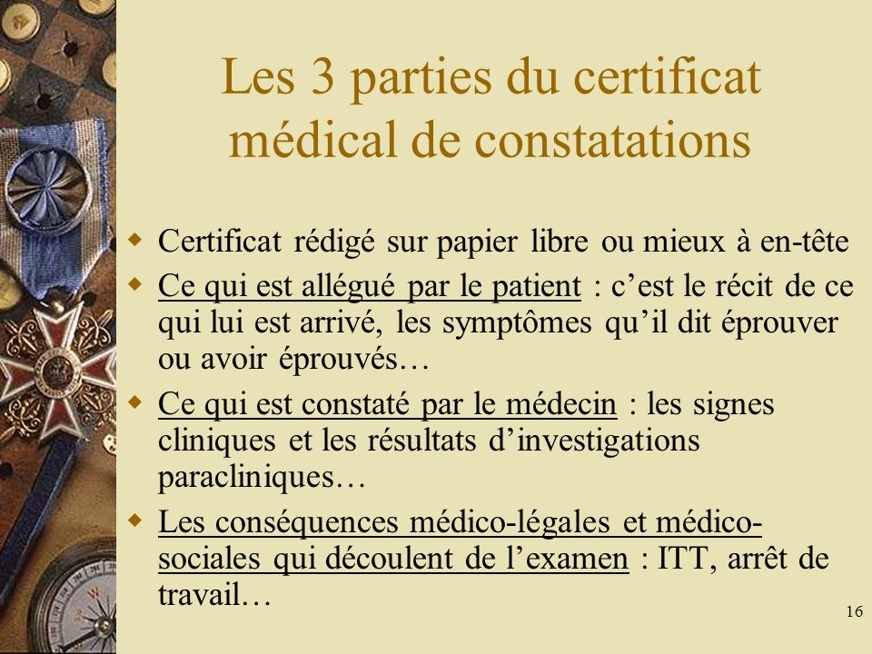 Les 3 parties du certificat médical de constatations