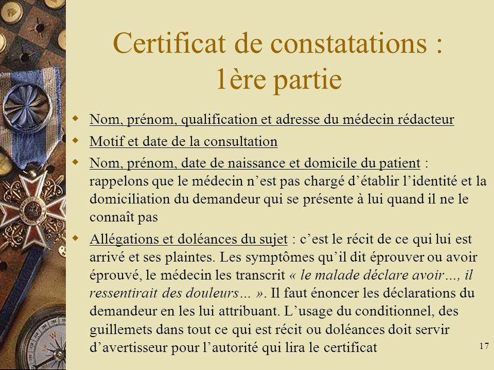 Certificat de constatations : 1ère partie