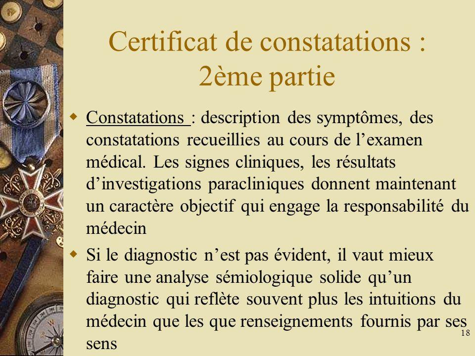 Certificat de constatations : 2ème partie