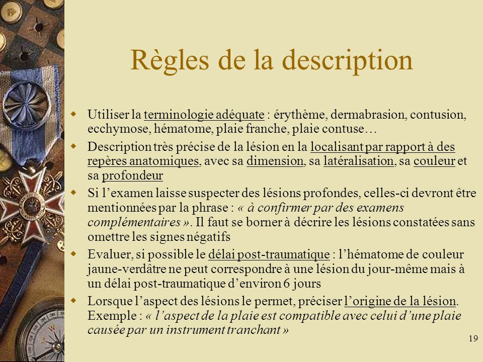 Règles de la description