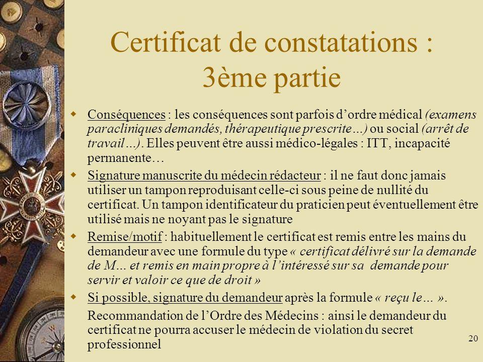 Certificat de constatations : 3ème partie