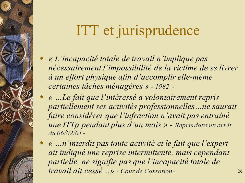 ITT et jurisprudence