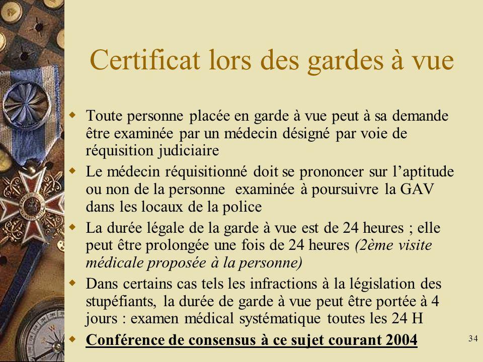 Certificat lors des gardes à vue