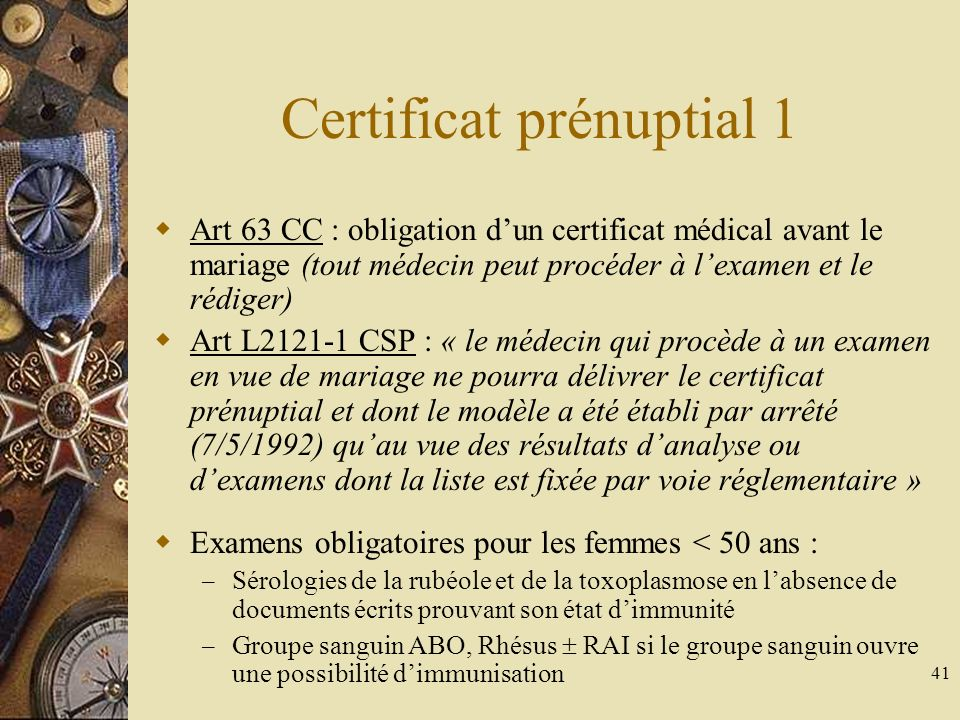 Certificat prénuptial 1