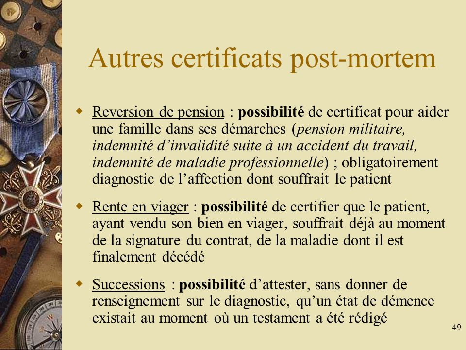 Autres certificats post-mortem