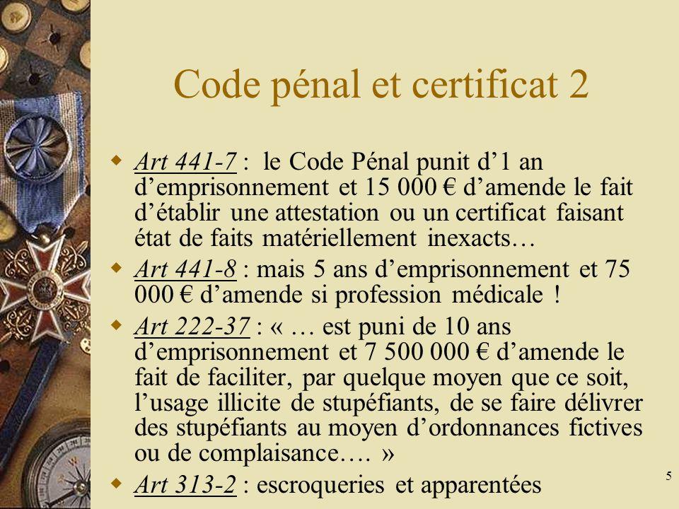 Code pénal et certificat 2