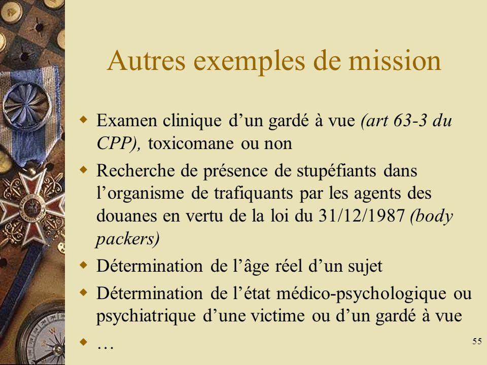 Autres exemples de mission