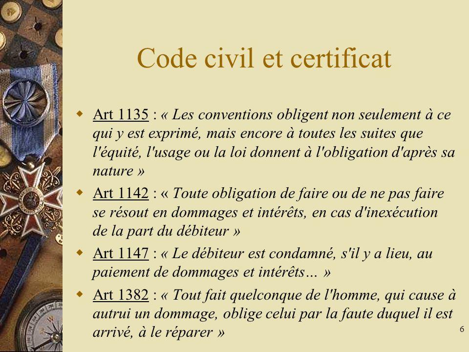 Code civil et certificat