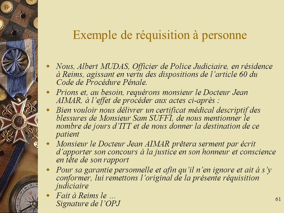 Exemple de réquisition à personne