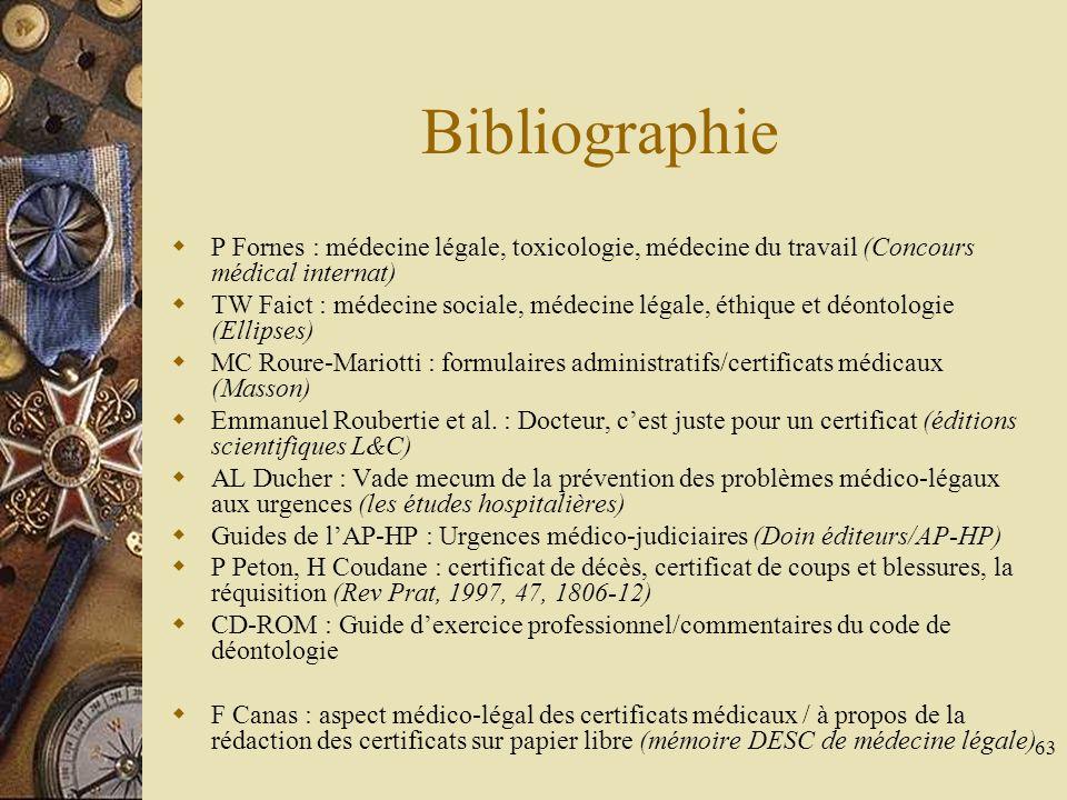 Bibliographie P Fornes : médecine légale, toxicologie, médecine du travail (Concours médical internat)