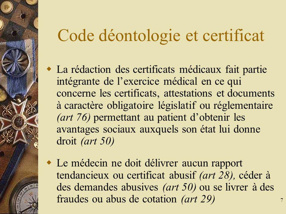 Code déontologie et certificat