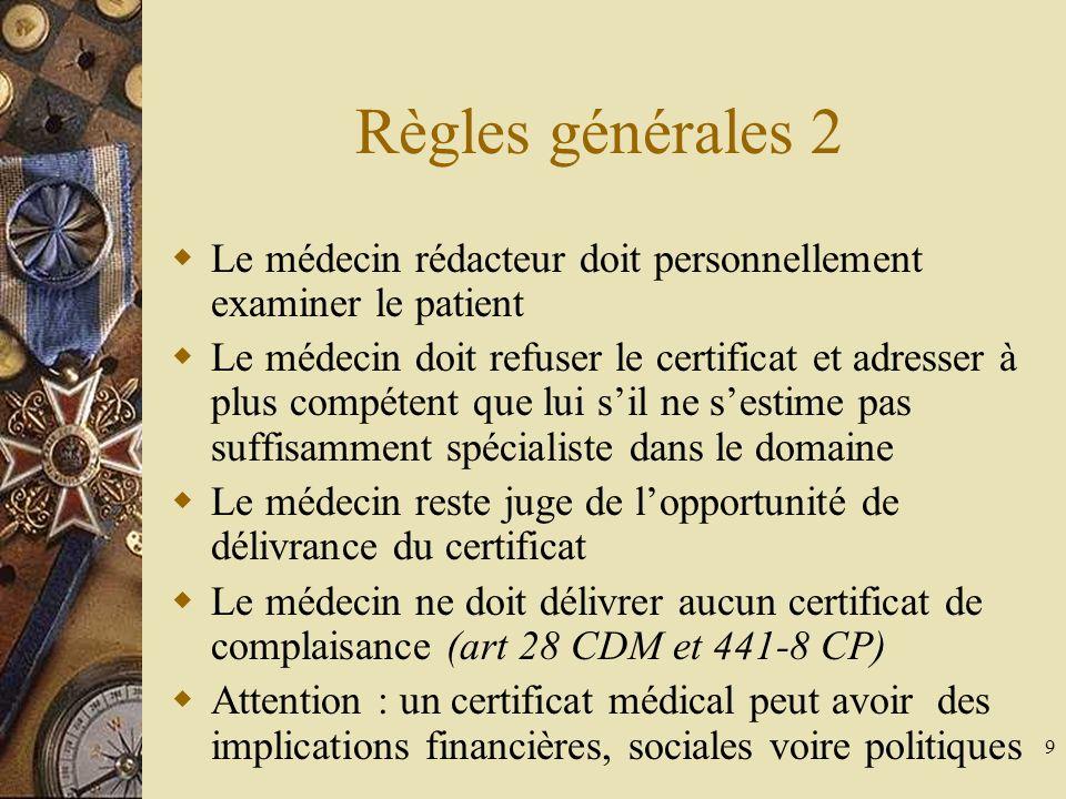 Règles générales 2 Le médecin rédacteur doit personnellement examiner le patient.