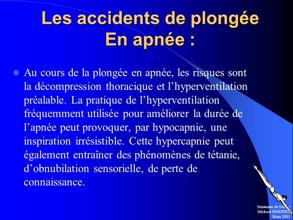 Les accidents de plongée En apnée :