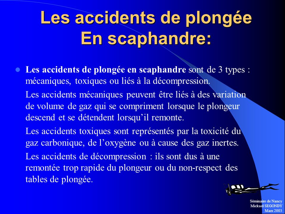 Les accidents de plongée En scaphandre:
