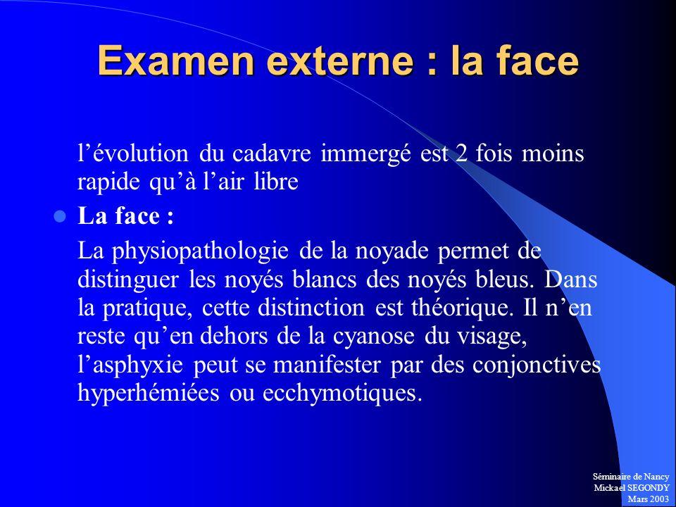 Examen externe : la face