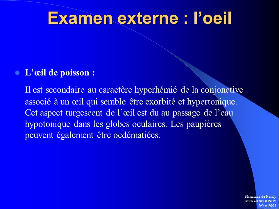 Examen externe : l'oeil