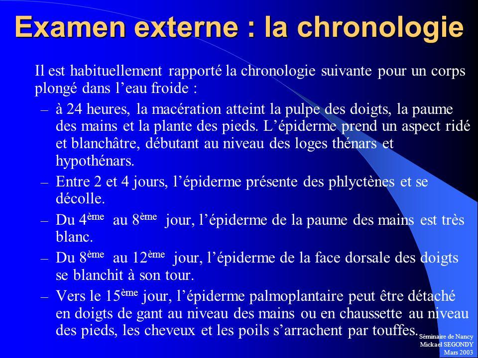 Examen externe : la chronologie