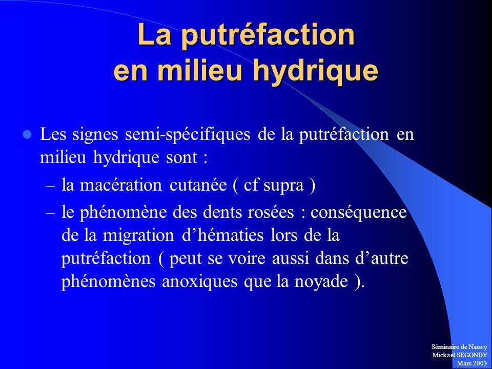 La putréfaction en milieu hydrique
