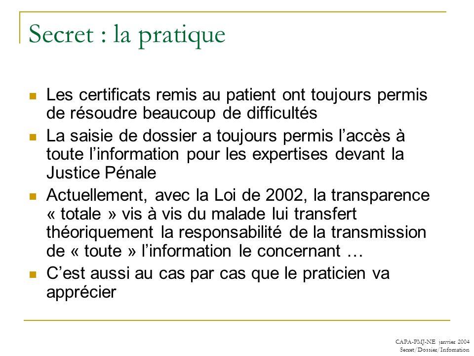 Secret : la pratique Les certificats remis au patient ont toujours permis de résoudre beaucoup de difficultés.