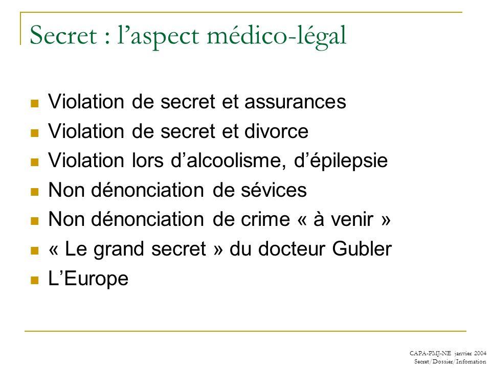 Secret : l'aspect médico-légal