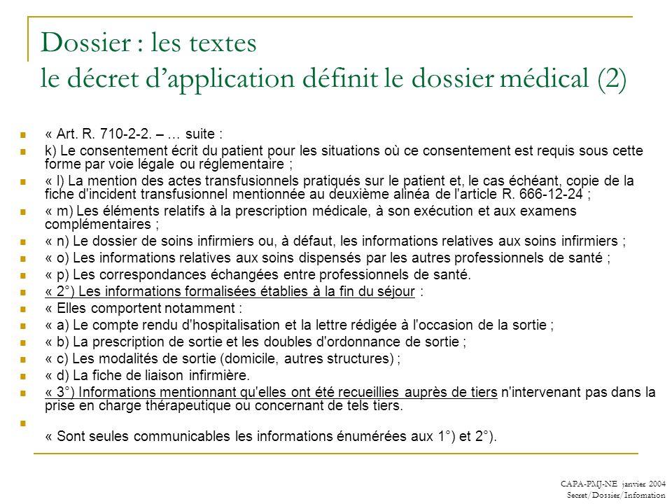 Dossier : les textes le décret d'application définit le dossier médical (2)