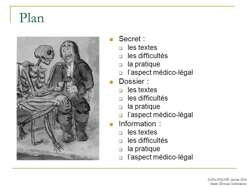 Plan Secret : Dossier : Information : les textes les difficultés