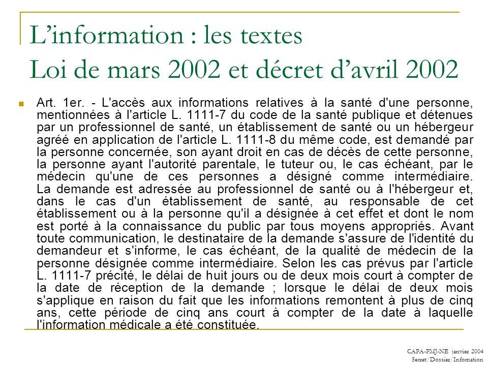 L'information : les textes Loi de mars 2002 et décret d'avril 2002