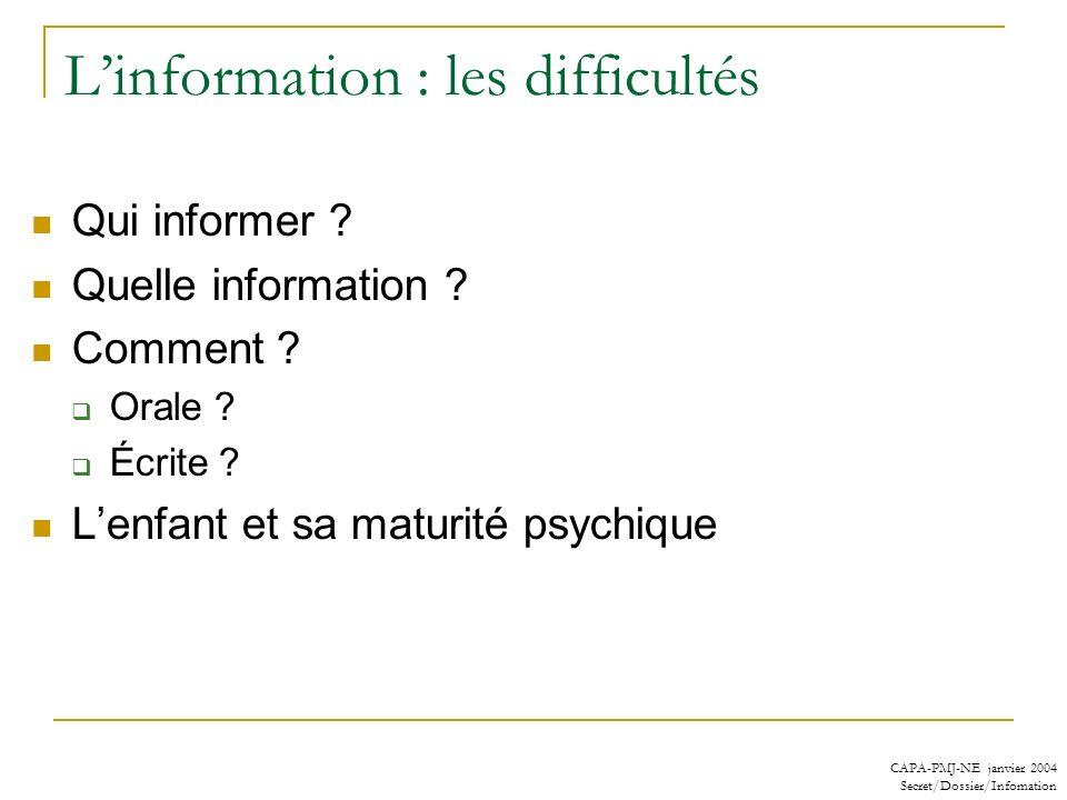 L'information : les difficultés