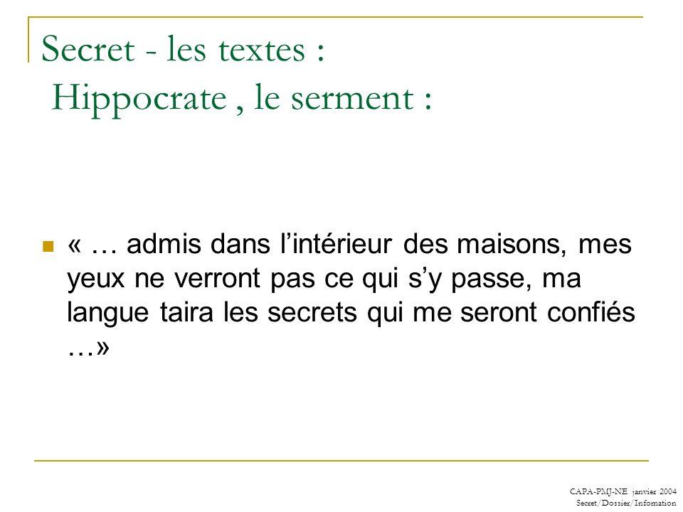 Secret - les textes : Hippocrate , le serment :