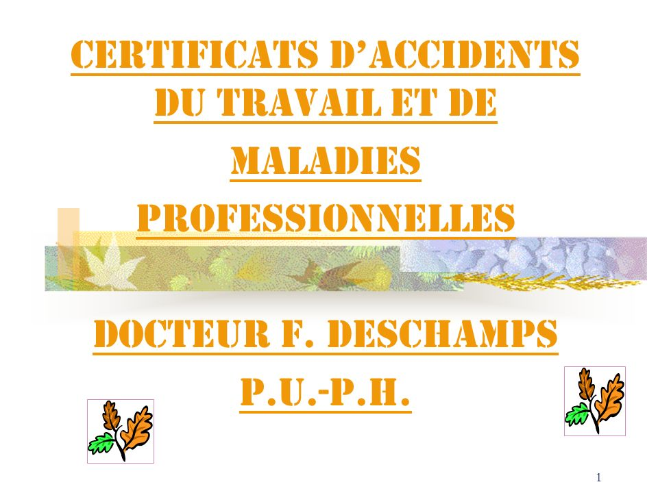 CERTIFICATS D'ACCIDENTS DU TRAVAIL ET DE