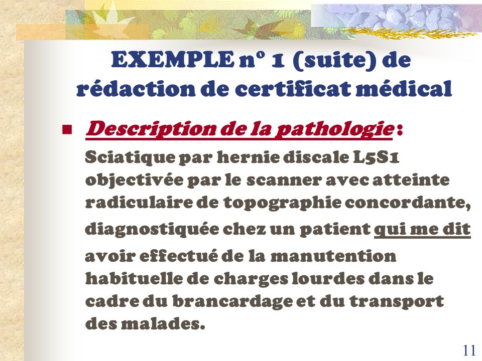 EXEMPLE n° 1 (suite) de rédaction de certificat médical