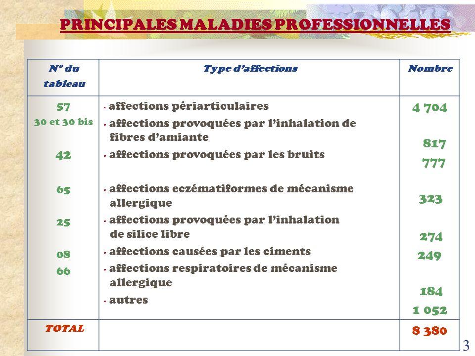 PRINCIPALES MALADIES PROFESSIONNELLES