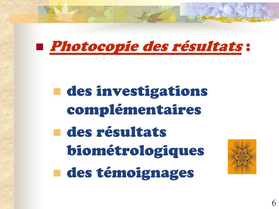 Photocopie des résultats :