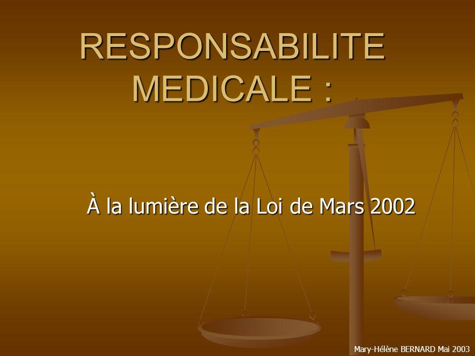 RESPONSABILITE MEDICALE :