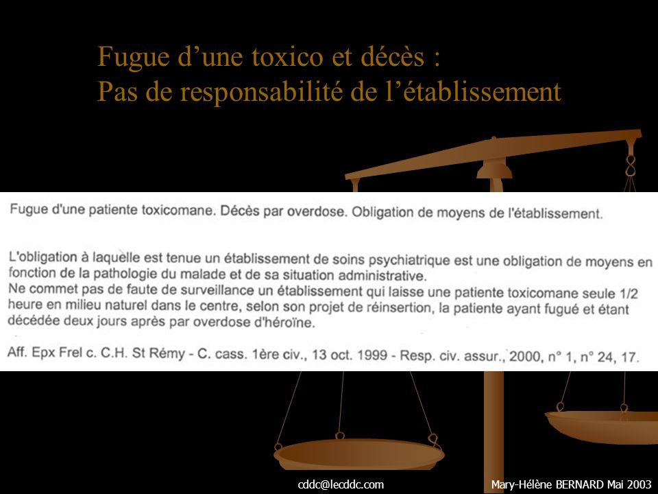 Fugue d'une toxico et décès : Pas de responsabilité de l'établissement