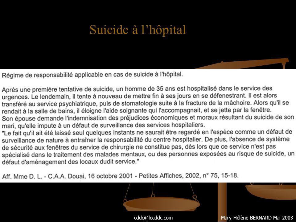 Suicide à l'hôpital cddc@lecddc.com Mary-Hélène BERNARD Mai 2003