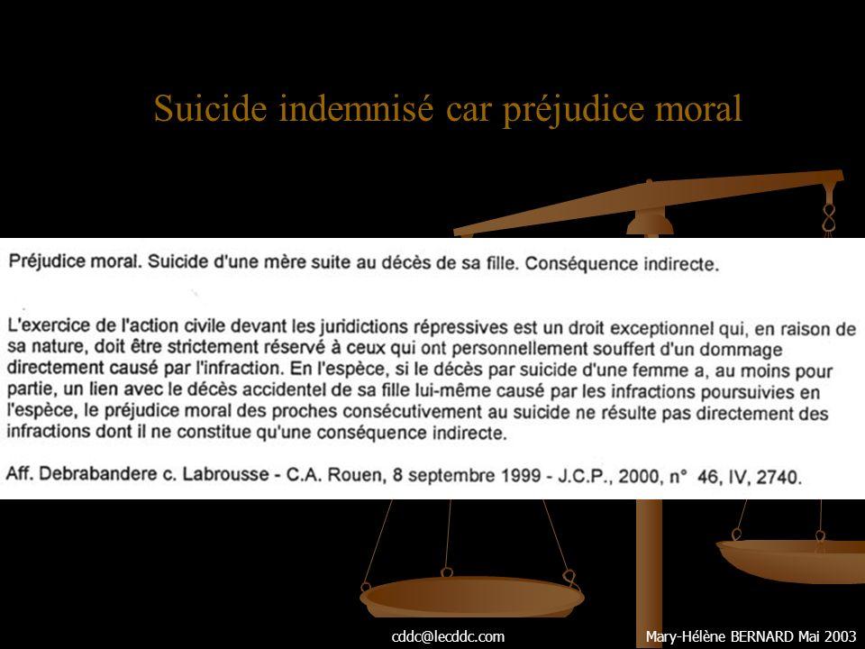 Suicide indemnisé car préjudice moral