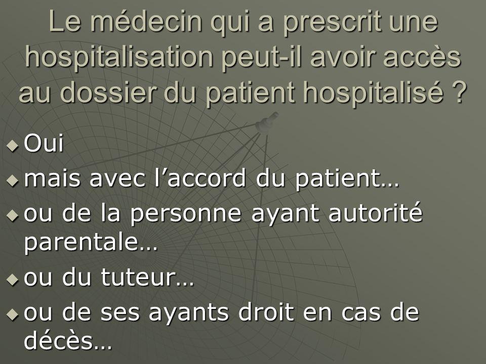Le médecin qui a prescrit une hospitalisation peut-il avoir accès au dossier du patient hospitalisé
