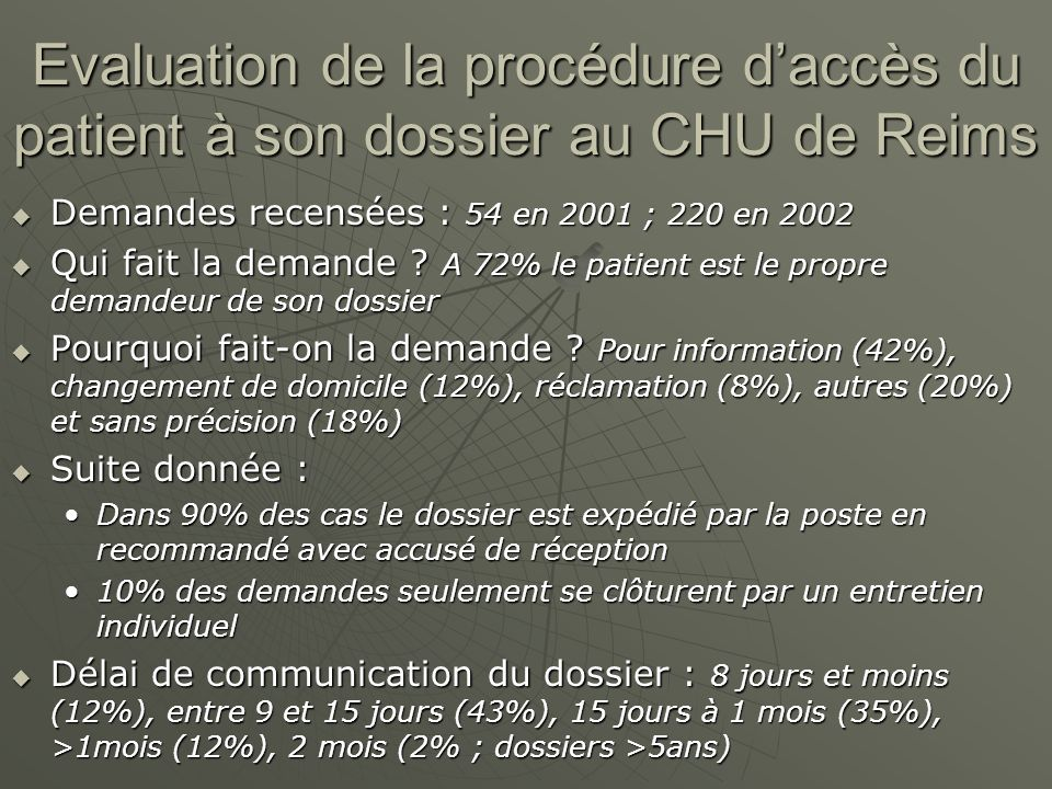 Evaluation de la procédure d'accès du patient à son dossier au CHU de Reims